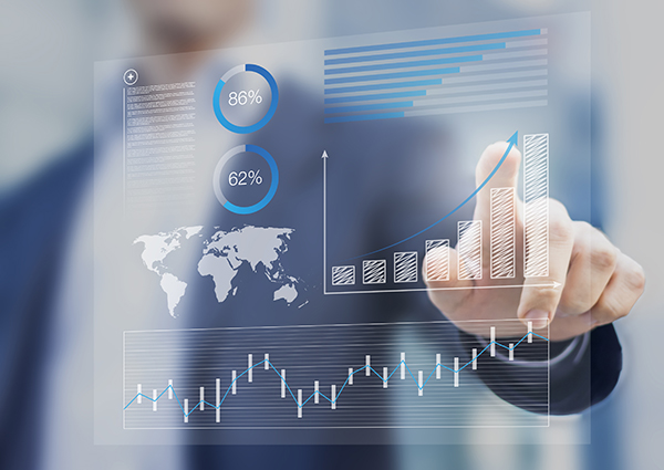 Businessman touching financial dashboard with key performance in