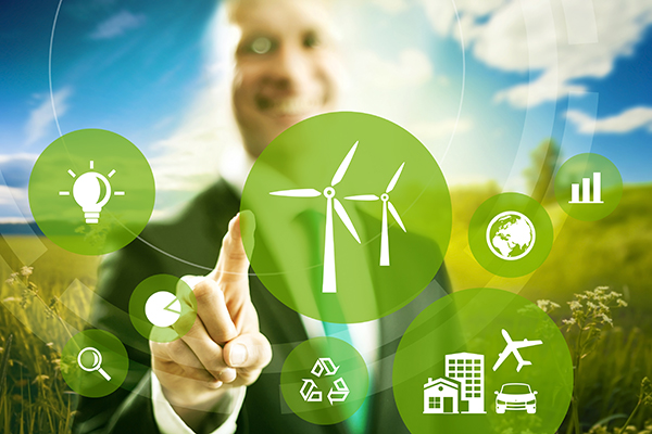 Wind energy and power business model concept.
