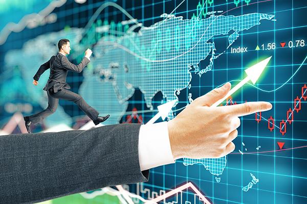 Businessman running forex background