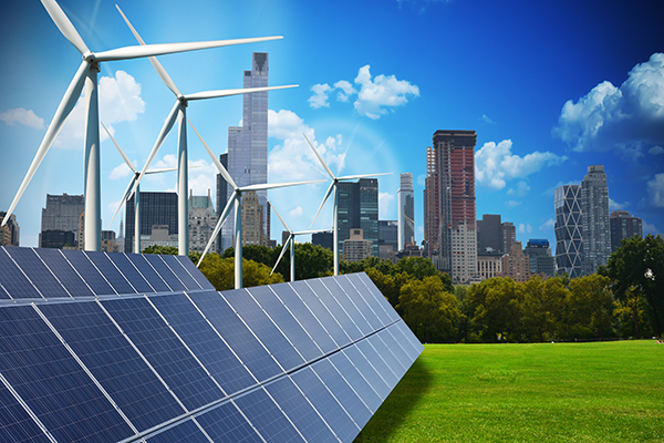 Modern green city powered only by renewable energy sources conce