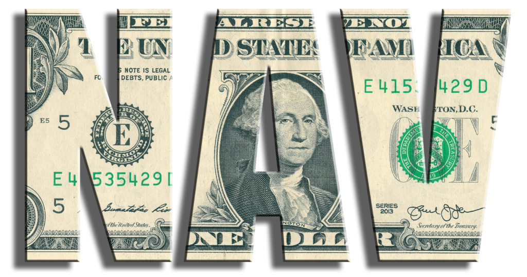 NAV - Net Asset Value. US Dollar texture.